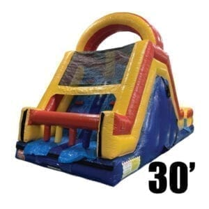 olympic 30' rock climb slide inflatable obstacle course party rental Michigan