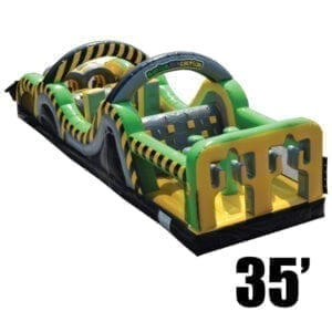 toxic rush 35' inflatable obstacle course party rental Michigan