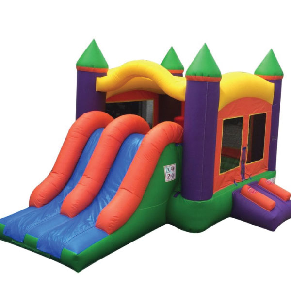 3n1 dual lane orange and purple inflatable bounce slide combo party rentals Michigan