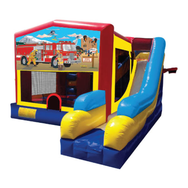 5n1 xl fire truck bounce slide combo inflatable party rentals Michigan