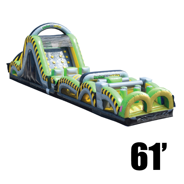 toxic rush 61' inflatable obstacle course party rental Michigan
