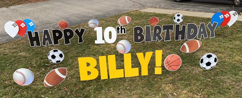 Sports with black letters yard greetings yard cards lawn signs happy birthday party rentals michigan