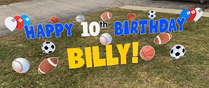 Sports with blue letters yard greetings yard cards lawn signs happy birthday party rentals michigan