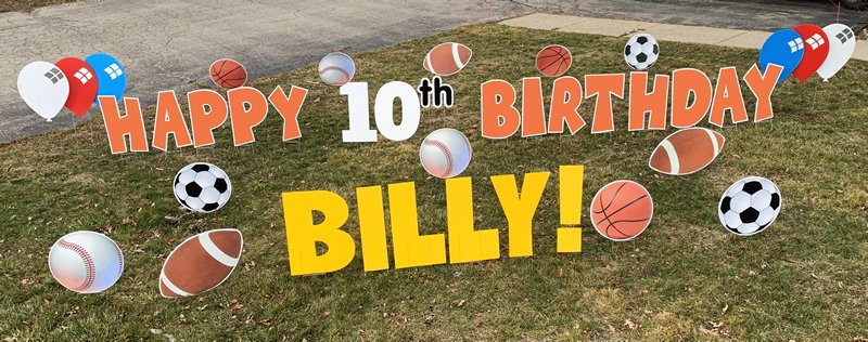 Sports with orange letters yard greetings yard cards lawn signs happy birthday party rentals michigan