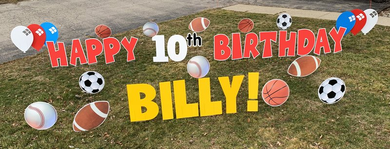 Sports with red letters yard greetings yard cards lawn signs happy birthday party rentals michigan