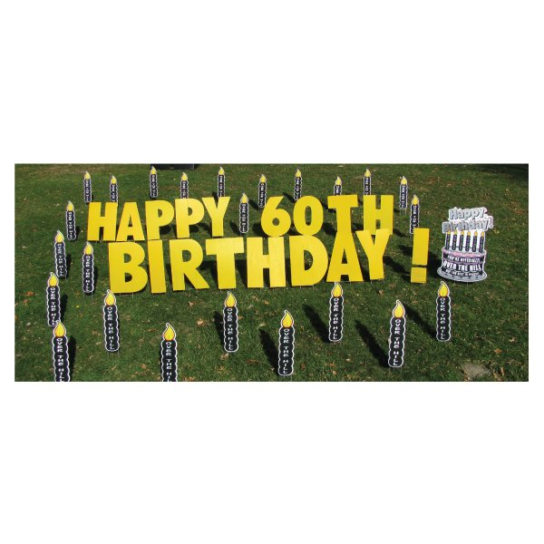 black candles yard greetings yard cards lawn signs happy birthday party rentals michigan