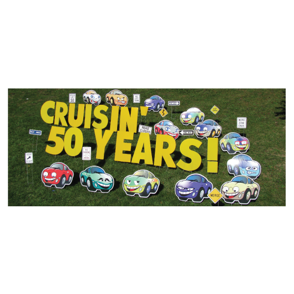 cars yard greetings yard cards lawn signs happy birthday party rentals michigan-2