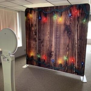 christmas social media booth back drop michigan party rentals