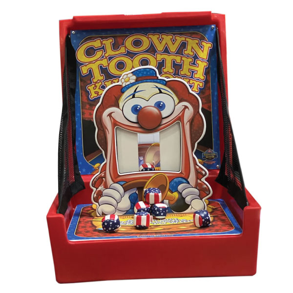clown tooth knockdown carnival game party rental michigan