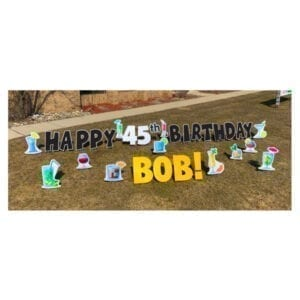 cocktail black yard greetings yard cards lawn signs happy birthday party rentals michigan