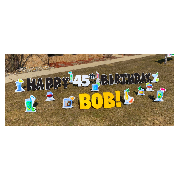 cocktail black yard greetings yard cards lawn signs happy birthday party rentals michigan