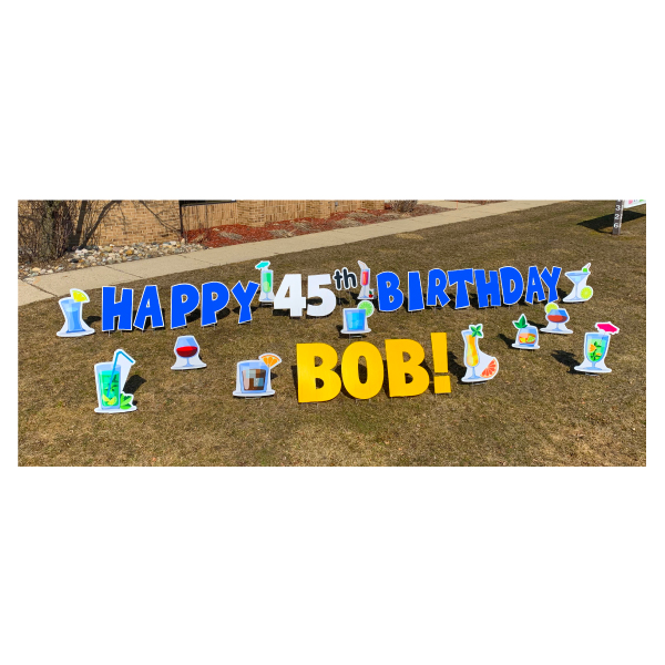 cocktail blue yard greetings yard cards lawn signs happy birthday party rentals michigan