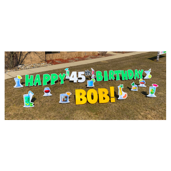 cocktail green yard greetings yard cards lawn signs happy birthday party rentals michigan