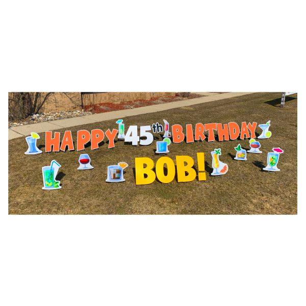 cocktail orange yard greetings yard cards lawn signs happy birthday party rentals michigan