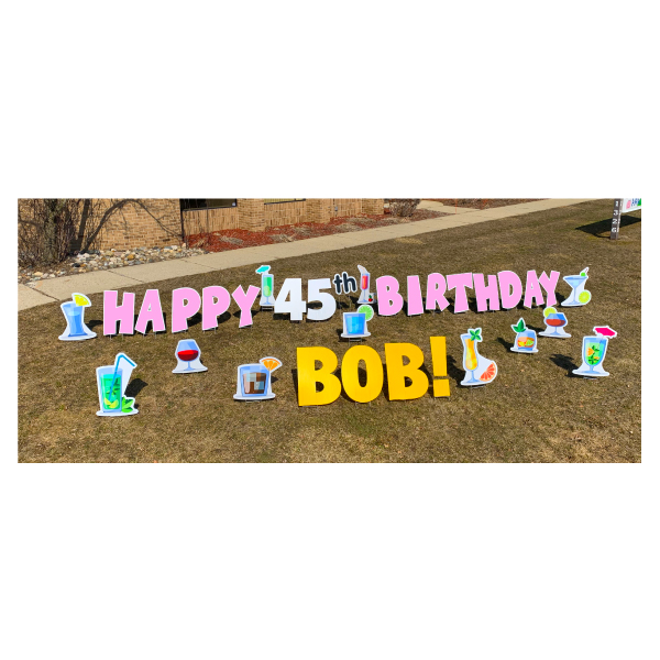 cocktail pink yard greetings yard cards lawn signs happy birthday party rentals michigan