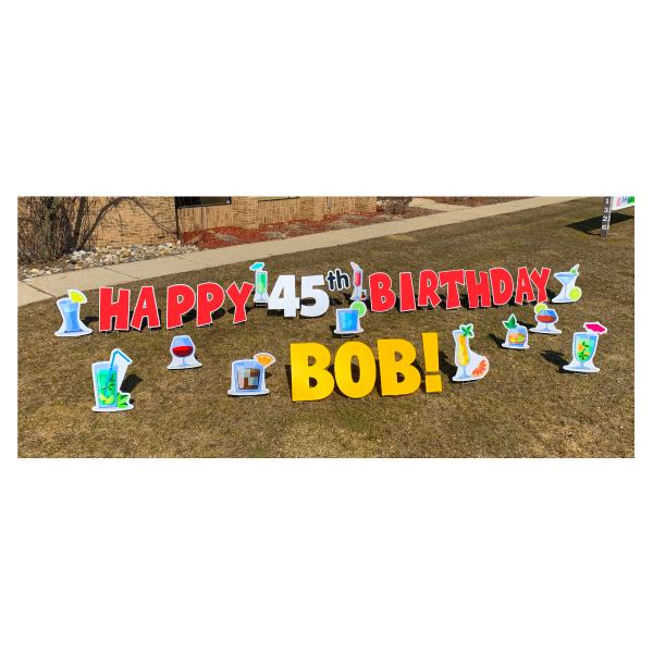 cocktail red yard greetings yard cards lawn signs happy birthday party rentals michigan