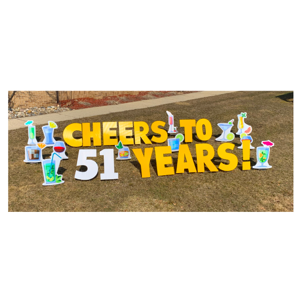 cocktail yard greetings yard cards lawn signs happy birthday party rentals michigan