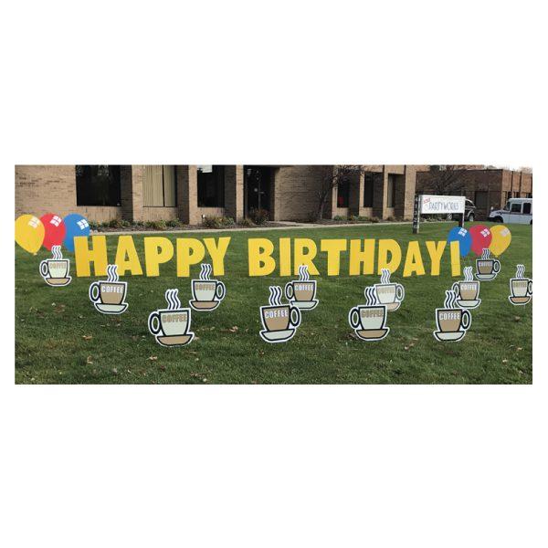 coffee yard greetings yard cards lawn signs happy birthday party rentals michigan