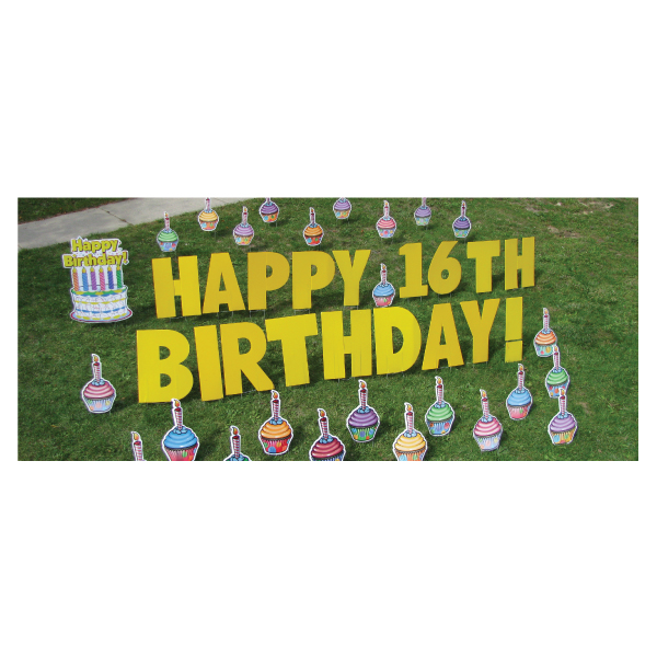 cupcakes yard greetings yard cards lawn signs happy birthday party rentals michigan