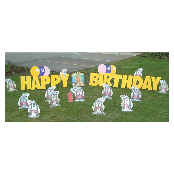 dogs yard greetings yard cards lawn signs happy birthday party rentals michigan