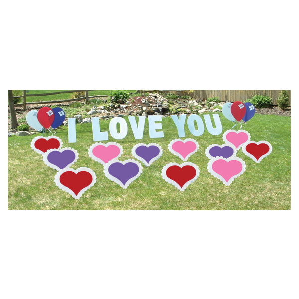 hearts yard greetings yard cards lawn signs happy birthday party rentals michigan