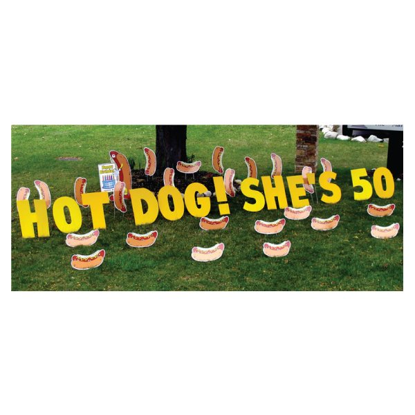 hot dogs yard greetings yard cards lawn signs happy birthday party rentals michigan