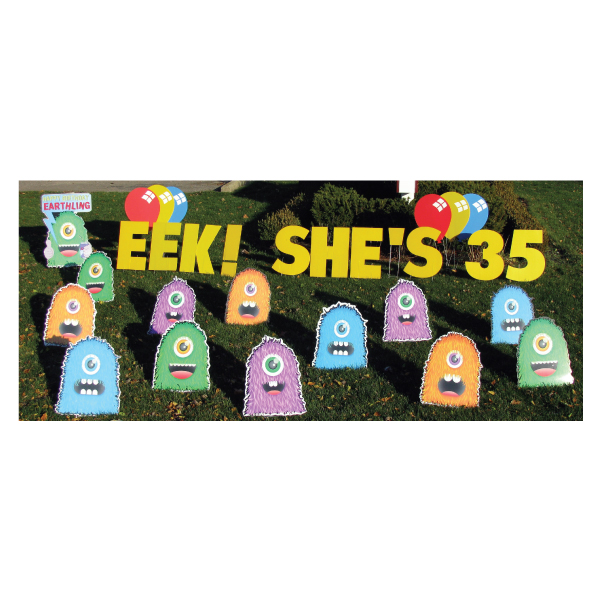 monsters yard greetings yard cards lawn signs happy birthday party rentals michigan 3
