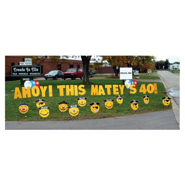 pirates yard greetings yard cards lawn signs happy birthday party rentals michigan 3