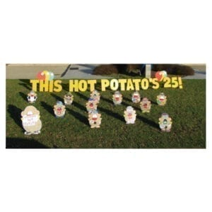 hot potato yard greetings yard cards lawn signs happy birthday party rentals michigan