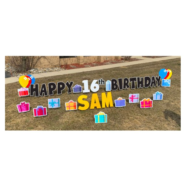 presents black yard greetings yard cards lawn signs happy birthday party rentals michigan