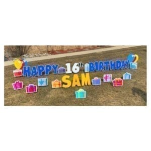 presents blue yard greetings yard cards lawn signs happy birthday party rentals michigan