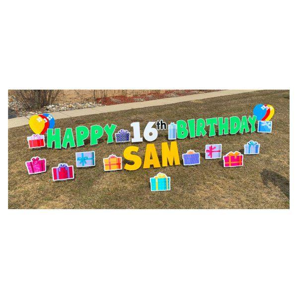presents green yard greetings yard cards lawn signs happy birthday party rentals michigan