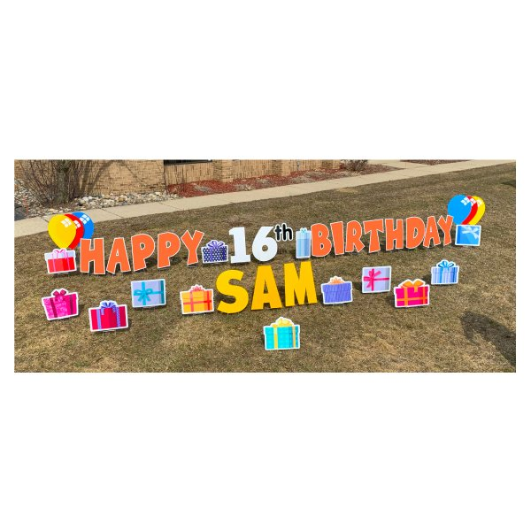 presents orange yard greetings yard cards lawn signs happy birthday party rentals michigan