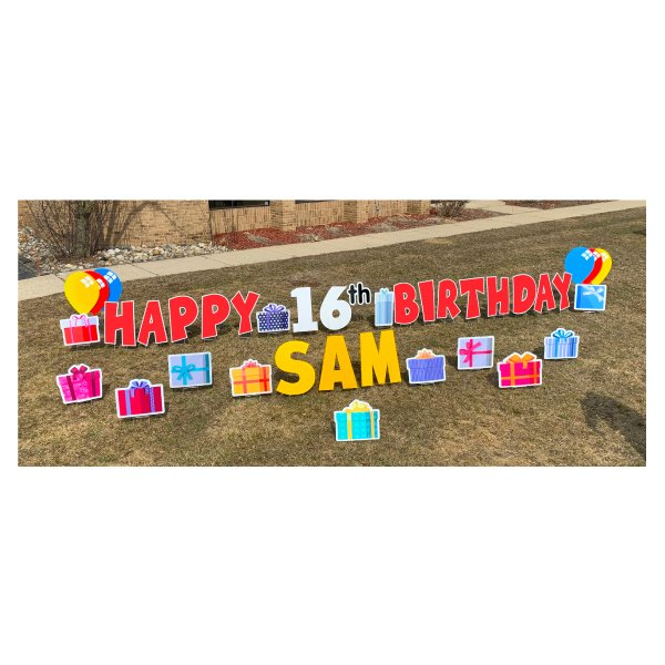 presents red yard greetings yard cards lawn signs happy birthday party rentals michigan