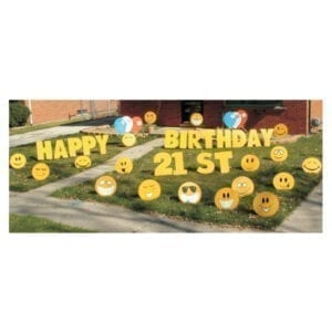 smiley faces yard greetings yard cards lawn signs happy birthday party rentals michigan