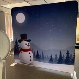 snowman social media booth back drop michigan party rentals