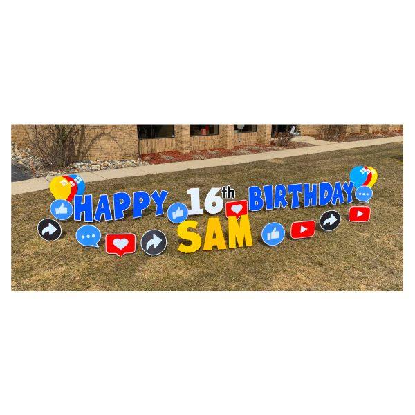 social media blue yard greetings yard cards lawn signs happy birthday party rentals michigan