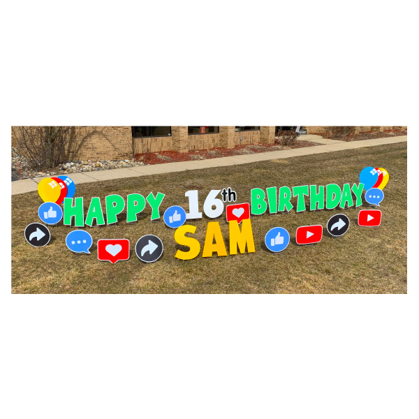 social media green yard greetings yard cards lawn signs happy birthday party rentals michigan