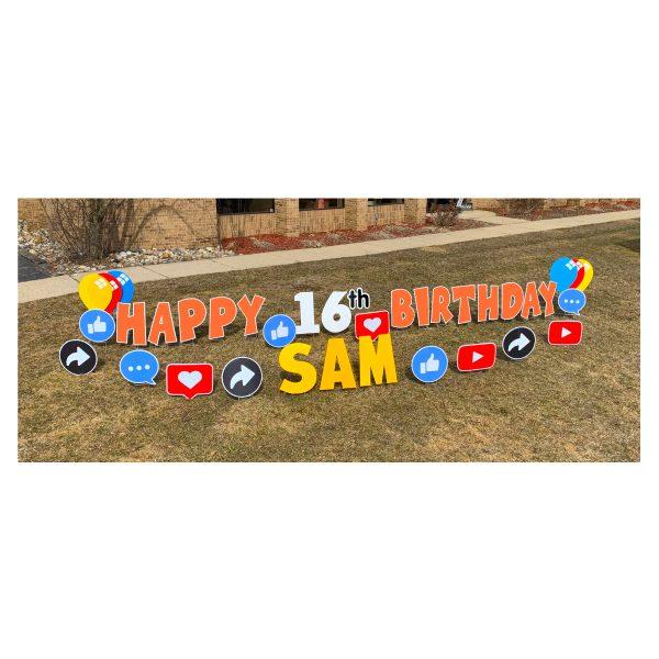 social media orange yard greetings yard cards lawn signs happy birthday party rentals michigan