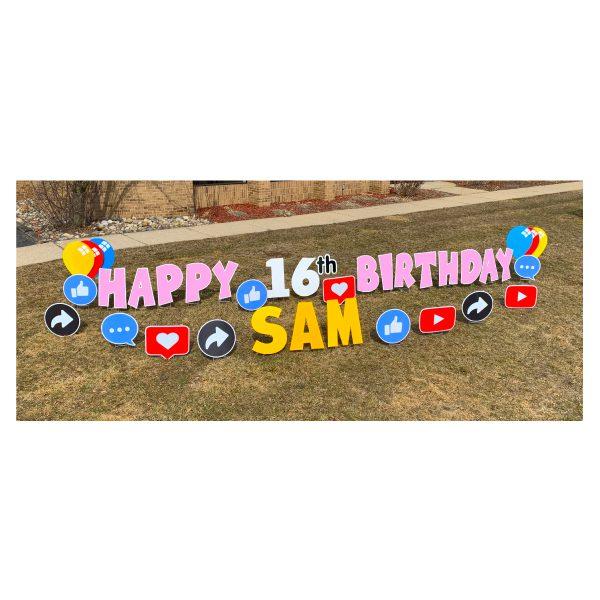 social media pink yard greetings yard cards lawn signs happy birthday party rentals michigan
