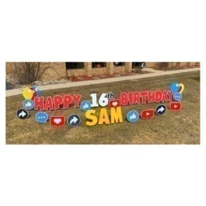 social media red yard greetings yard cards lawn signs happy birthday party rentals michigan