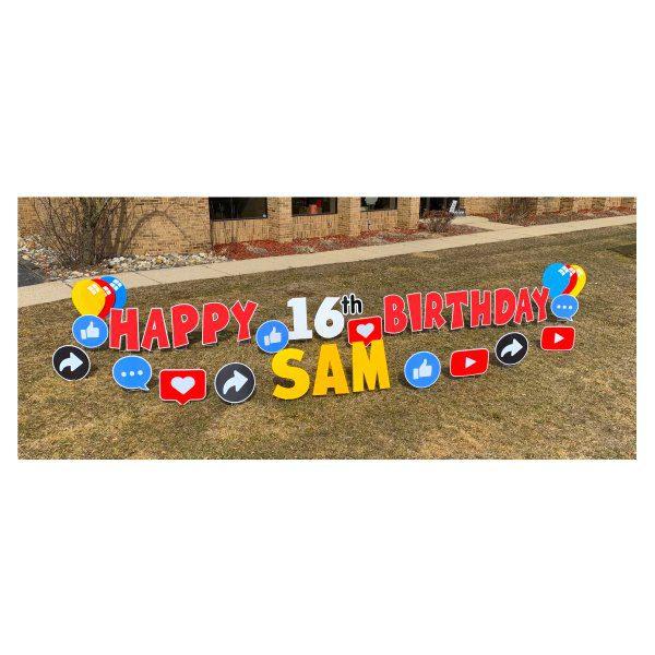 social media red yard greetings yard cards lawn signs happy birthday party rentals michigan