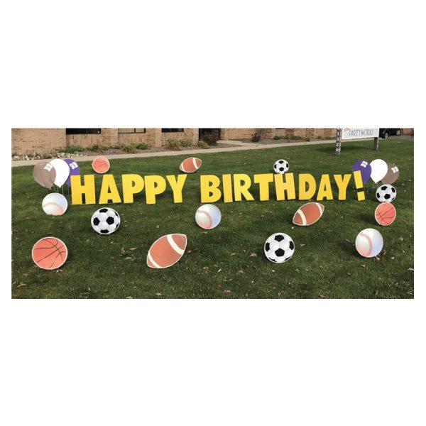 sports yard greetings yard cards lawn signs happy birthday party rentals michigan
