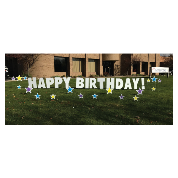 stars yard greetings yard cards lawn signs happy birthday party rentals michigan