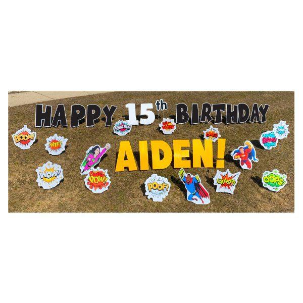 superheroes black yard greetings yard cards lawn signs happy birthday party rentals michigan 2