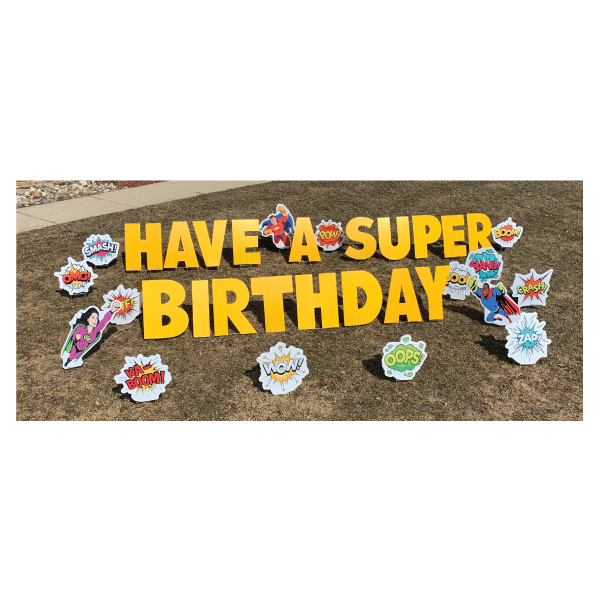 superheroes yard greetings yard cards lawn signs happy birthday party rentals michigan