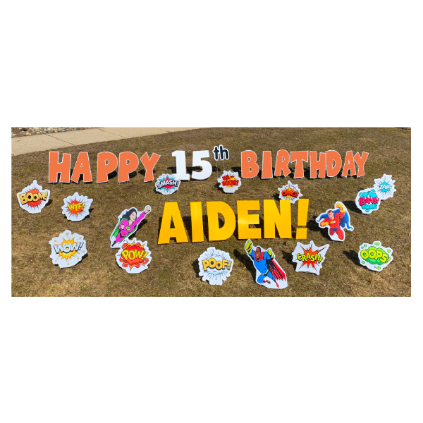 superheroes orange yard greetings yard cards lawn signs happy birthday party rentals michigan