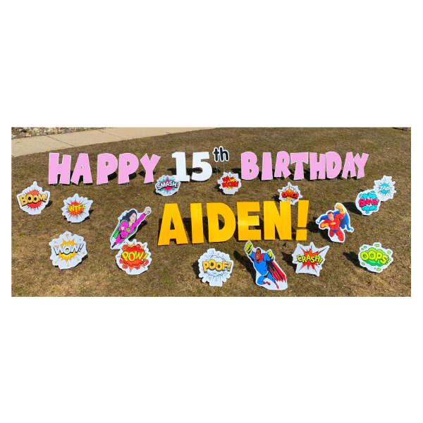 superheroes pink yard greetings yard cards lawn signs happy birthday party rentals michigan