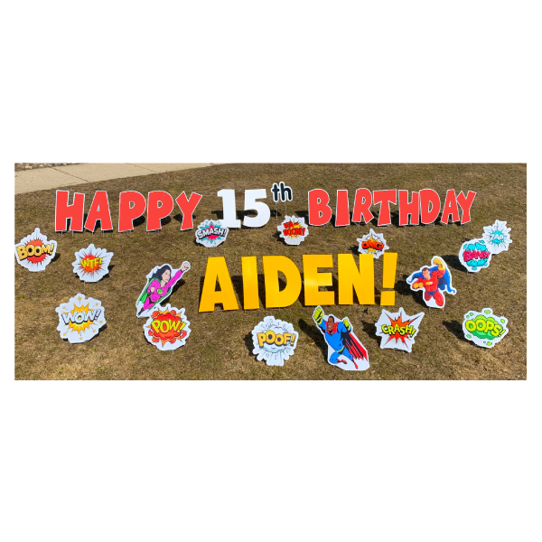 superheroes red yard greetings yard cards lawn signs happy birthday party rentals michigan
