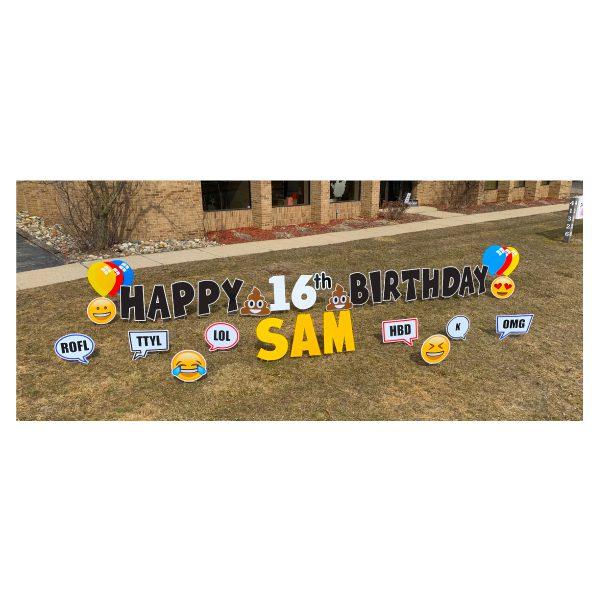 texting black yard greetings yard cards lawn signs happy birthday party rentals michigan